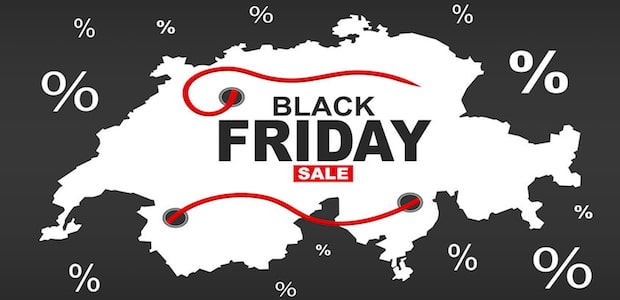 Black Friday Sale Grafik auf Umrisskarte der Schweiz