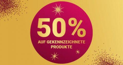 50% Rabatt auf gekennzeichnete Produkte