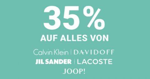 35% Rabatt auf alles von Calvin Klein, Davidoff, Jil Sander, Lacoste & Joop