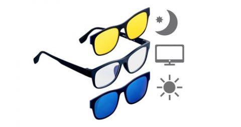 Gratis 3in1-Bildschirm-Brille mit magnetischem Sonnen- und Nachtsicht-Aufsatz