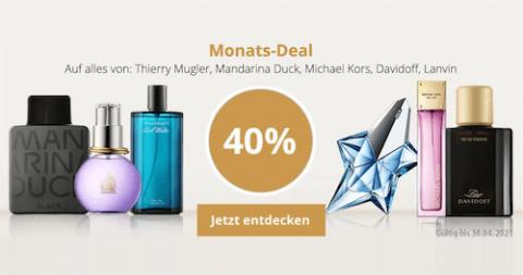 40% Rabatt auf alles von Davidoff, Lanvin, Mandarina Duck, Michael Kors und Thierry Mugler