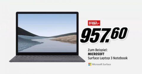 20% Rabatt auf ausgewählte Microsoft Surface Laptop 3